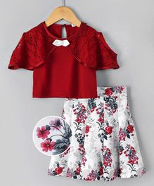 Babyhug Half Sleeves Top & Skirt Set Floral Print - Red White