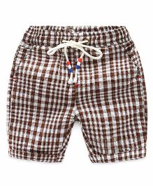 Pre Order - Superfie Checkered Summer Shorts - Brown & Multicolor