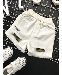 Pre Order - Superfie Ripped Shorts - White