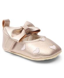 Cute Walk by Babyhug Booties Velcro Closure Bow Applique - Golden
