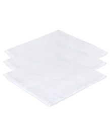 Lula Reusable Muslin Square Towels Pack of 3 - White