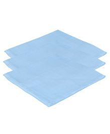Lula Reusable Muslin Square Towels Pack of 3 - Blue