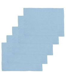 Lula Reusable Muslin Square Napkins Pack of 5 - Blue