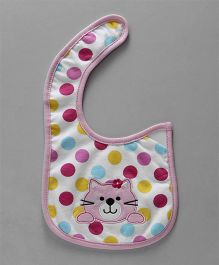 Babyhug Cotton Bib Velcro Closure Kitty Face Embroidered - Pink