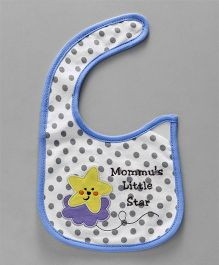 Babyhug Cotton Bib Velcro Closure Star Embroidered - White & Blue