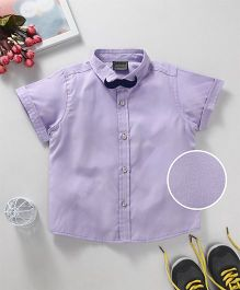 Rikidoos Solid Shirt With Moustache Style Bow Tie - Purple