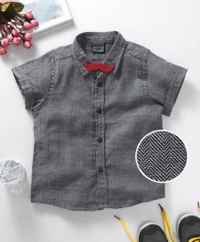 Rikidoos Textured Shirt With Moustache Style Bow - Black