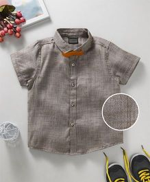Rikidoos Texture Shirt With Moustache Bow - Light Brown