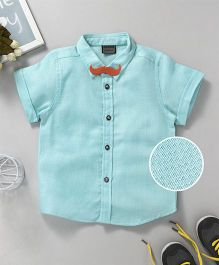 Rikidoos Texture Shirt With Moustache Style Bow Tie - Sky Blue