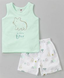 Zero Sleeveless Tee And Shorts Bear Print - Sea Green