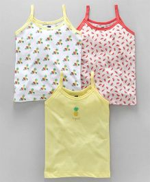 Simply Singlet Slips Multi Print Pack of 3 - Red Yellow