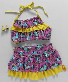 Rovars Halter Neck Two Piece Swim Suit Floral Print - Pink & Yellow