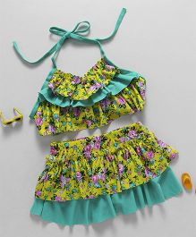 Rovars Halter Neck Two Piece Swim Suit Floral Print - Green & Yellow