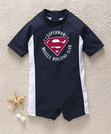 Fox Baby Half Sleeves Legged Swimsuit Superman Print - Navy