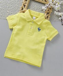 ToffyHouse Half Sleeves Polo T-Shirt Deer Embroidered - Lemon Yellow