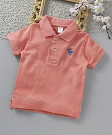 ToffyHouse Half Sleeves Polo T-Shirt Deer Embroidered - Peach