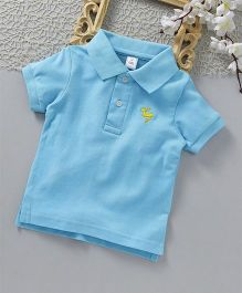 ToffyHouse Half Sleeves Polo T-Shirt Deer Embroidered - Light Blue