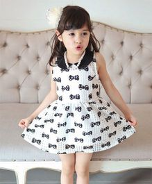 Pre Order - Superfie Bow Print Dress With Peter Pan Collar - White