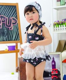 Dazzling Dolls 2 Piece Kitty Print Tankini Set With Cap & Lace Trimmings - Black
