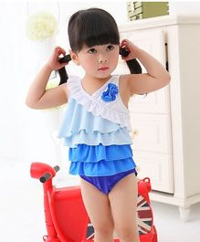 Dazzling Dolls Ruffled Swimsuit With Cap - Blue