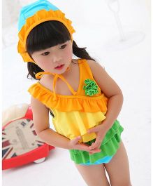 Dazzling Dolls One Piece Ruffled Swimsuit With Cap - Yellow