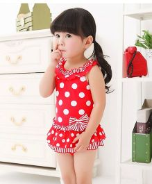 Dazzling Dolls Polka Dot One Piece Swimsuit With Bow & Cap - Red
