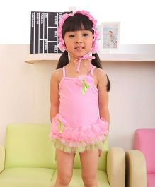 Dazzling Dolls Ruffled Tutu Spaghetti Shoulder Swimsuit With Cap - Pink