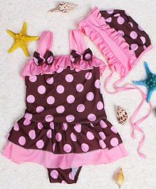 Dazzling Dolls Polka Dot Peplum Swimsuit With Cap - Brown