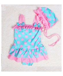 Dazzling Dolls Polka Dot Peplum Swimsuit With Cap - Blue