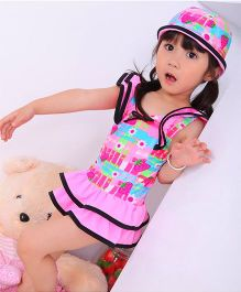 Dazzling Dolls Printed Butterfly Sleeve Swim Suit With Cap - Pink