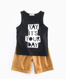 Pre Order - Awabox Sleeveless Quote Print Two Piece Set - Black