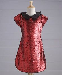 Yellow Duck Short Sleeves 2 In 1 Colour Changing Sequin Party Dress - Maroon & Black