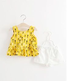 Pre Order - Awabox Printed Gathered Top & Shorts - Yellow