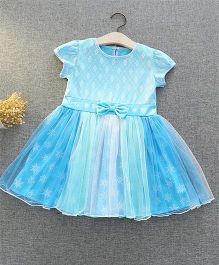 Pre Order - Awabox Ombre Net Printed Dress With Bow - Blue