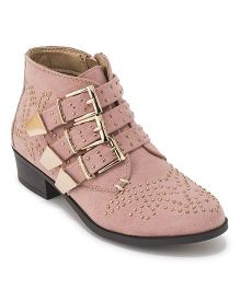 Minni Tc Stud & Buckle Detail Ankle Boots - Pink