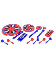 Emob 4 Level Magnetic Dart Board With Darts & Launchers - Blue Red