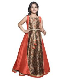 Betty By Tiny Kingdom Printed Gown With Detachable Long Jacket - Orange