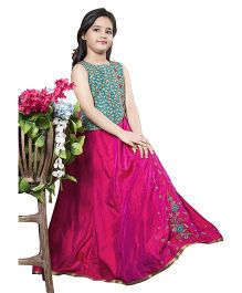 Betty By Tiny Kingdom Long Gown With Floral Embroidery Details - Rani Pink