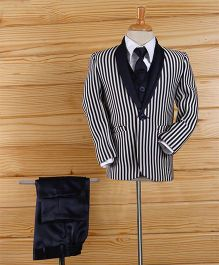 Rikidoos Striped Shawl Lapel Suit With Tie - Navy Blue