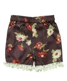 Snowflakes Pom Pom Shorts With Floral Prints - Violet