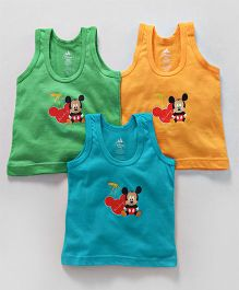 Bodycare Sleeveless Vests Mickey Mouse Print Pack of 3 - Green Orange Blue