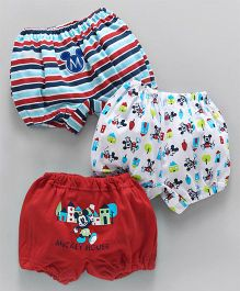 Bodycare Bloomers Mickey Mouse & Stripes Print Pack of 3 - Red Blue