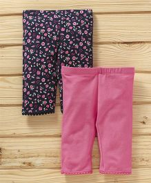 UCB Floral & Solid Leggings Pack of 2 - Navy Pink