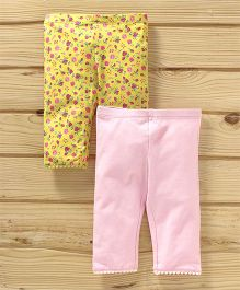 UCB Floral & Solid Leggings Pack of 2 - Yellow Light Pink