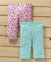 UCB Floral & Solid Leggings Pack of 2 - Light Pink & Sea Green