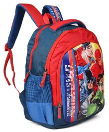DC Comics School Bag Justice League Print Red Blue - 16 inches