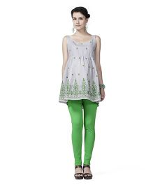 Innovative Embroidery Sleeveless Tunic  Maternity Top - Green