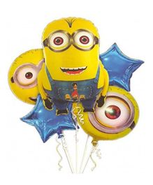 Funcart Minions Themed Foil Balloons Yellow & Blue - Pack of 5