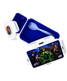 Funcart Marvel Avenger Lunch Box With Fork Spoon - Blue & White