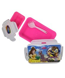 Funcart Beauty & the Beast Lunch Box With Fork Spoon - Pink & White